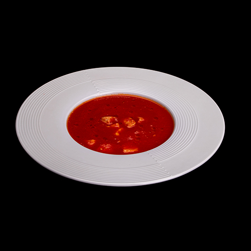 Томатный суп с тунцом и лососем